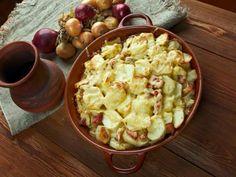 poivre, pomme de terre, crème fleurette, oignon, lardons fumés, reblochon, vin…