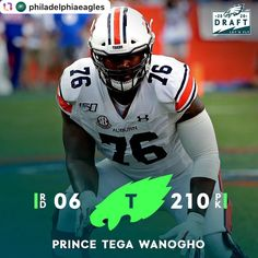 #Repost @philadelphiaeagles . With the 210th pick in the 2020 #NFLDraft, the @eagles #EAGLES 🦅🏈🏆💚 select T #PrinceTegaWanogho. #FlyEaglesFly