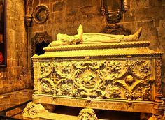 The grave of one of the greatest discoverers ever. Vasco da Gama. His grave is located in the UNESCO World Heritage Site Mosteiro dos Jerónimos. Born around 1460 or 1469 in the city of Sines, Alentejo - Portugal, was a Portuguese explorer, one of the most successful in the European Age of Discovery and the commander of the first ships to sail directly from Europe to India. He died on the 24th of December 1524 in Kochi, India. His body was sent back to Portugal where it rests now.