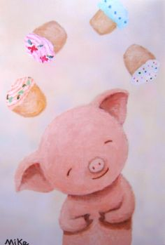 Cute Pig Illustration Print Cupcakes Kitchen Art Soft Pastel Dreamy. $7.99, via Etsy.