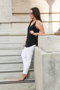 Summer Outfit | White Jeans | Date Night outfit | Lady in Violet | Houston Fashion Blogger