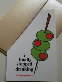 Funny Pregnancy Announcements Set of 12 - I finally stopped drinking...i'm pregnant. $15.00, via Etsy.