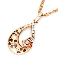 Pugster Golden Drop With Hollow Flower And November Bithstone Topaz Crystal Heart Pendant