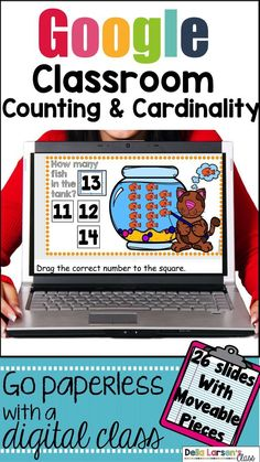 This digital math resource offers opportunities for your students to count sets to twenty, to add a number to ten, and write an equation. Google Classroom is the perfect addition to your math centers. It provides individual practice for building counting and cardinality, and numbers and operational ...