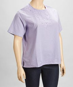 Another great find on #zulily! Lavender Embroidered Henley - Plus #zulilyfinds