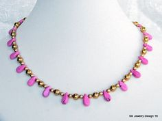 Pink Chalk Turquoise Teardrop Necklace-Gold. $26.00, via Etsy.