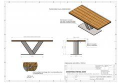 Industriele tafel met tafelonderstel V tafelpoot - Industriele tafels