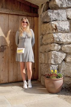Heartfelt Hunt - Little Gray Dress - Little gray dress, round sunglasses, color block bag, Converse sneakers and blond, long hair - Spring Fashion
