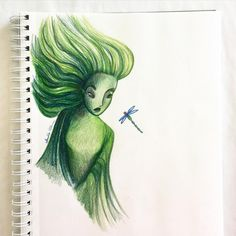 "I love the character design of the Spring Sprite from Fantasia 2000's ""The Firebird Suite."" #arhsketches Copyright Amalia Hillmann"