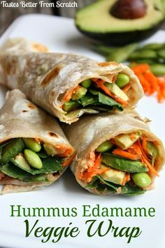 Simple and healthy Hummus Edamame Veggie Wrap recipe on…