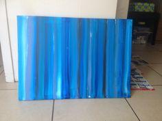 """Schilderij """"blauw vertikaal"""" gouache op doek"""