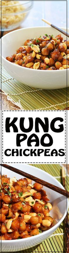 Kung Pao Chickpeas - Kung Pao Chickpeas - This is the vegan version of the classic Chinese takeout. Now you can make it at home for lunch or dinner any day of the week. Asian Recipes, Whole Food Recipes, Dinner Recipes, Cooking Recipes, Cooking Tips, Chickpea Recipes, Vegetarian Recipes, Healthy Recipes, Chickpea Salad