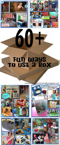 For anyone whose ever looked for some inspiration for what fun thing they could make with a box . 60 {FUN} Ways to Use a Box! A HUGE compilation of some super clever ideas for tots through elementary school and beyond! Craft Activities, Toddler Activities, Toddler Preschool, Toddler Play, Cardboard Box Crafts, Cardboard Box Ideas For Kids, Cardboard Recycling, Cardboard Playhouse, Cardboard Furniture