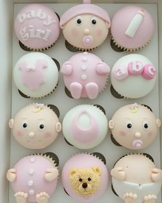 Babies Baby Cupcake, Baby Shower Cupcakes, Shower Cakes, Cupcakes For Boys, Cute Cupcakes, Fondant Cupcakes, Cupcake Cakes, Baby Shower Ballons, Pregnant Belly Cakes