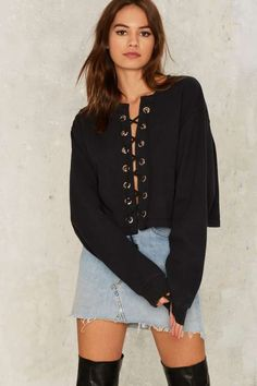 After Party by Nasty Gal Together at Last Lace-Up Sweatshirt - Sweaters