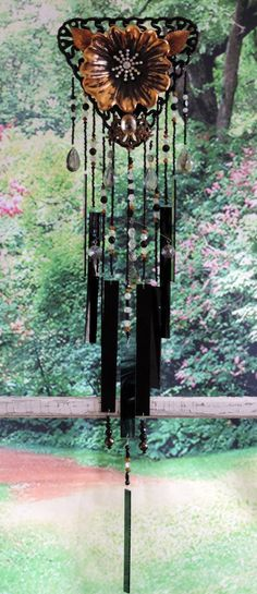 Wind Chime Glass Black Gold Crystal Beads by CorvidaeCuriosity