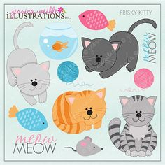 Frisky Kitty Cute Digital Clipart for Card Design, Scrapbooking, and Web Design, Cat Clipart on Etsy, $5.00