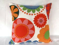 One cushion cover  flower  print   18 inch pillow by Ruthscrafts, $16.00
