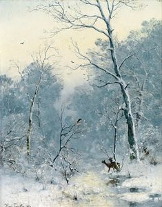 Winter Landscape - Heinrich Gogarten, 1893 German, 1850-1911 Oil on canvas, 40,5 x 32 cm