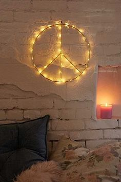 Maybe for screened in porch? Shop Peace Sign Light Sculpture at Urban Outfitters today. We carry all the latest styles, colors and brands for you to choose from right here. Vintage Home Decor, Diy Home Decor, Do It Yourself Baby, Hippie Peace, Hippie Bohemian, Paz Interior, Led Neon Signs, Fashion Room, Neon Lighting