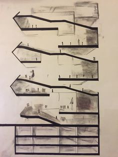 Section drawing of Prada Aoyama showing the oblique circulation between each floor + The importance of light (in middle) and the shadow  (in the two sides)