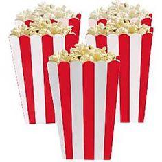 Stevige popcorn bakjes van karton. In fris rood wit gestreept.Goed voor hartige snacks, chips, popcorn, maar ook handig voor snoepgoed, koekjes en kleine kadootjes op een candytable.  ;Per pak 5 stuks.Afm.: 6cm ;x 13cm  ;x 3cm