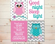 Girl Nursery Wall Art Owl Nursery Prints Read by HollyPopDesigns