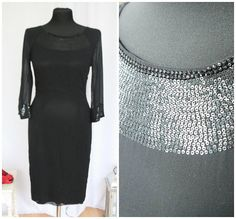 Black Dress Vintage Dress 90s  Black silk ! Romantic retro universal  summer dress party dress wedding dress with sequins, made in Italy.
