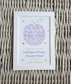 Preschool leaving gift - If your little one is leaving nursery - this is the perfect gift