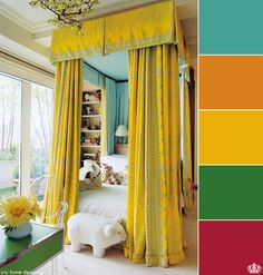 love the canopy beds; House of Turquoise: Kids' Room House Of Turquoise, Yellow Turquoise, Turquoise Room, Turquoise Fabric, Pink Yellow, Aqua Blue, Blue Gold, Hot Pink, Coastal Bedrooms