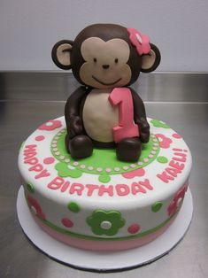 monkey birthday cakes for girls | 3D Mod Monkey Girl made of rice krispies treats and fondant!