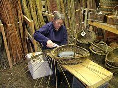 Katherine Lewis, willow basket maker, at work.