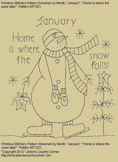 "Primitive Stitchery Pattern, Snowman January ""Home is where the snow falls!"" in Antiques, Primitives 