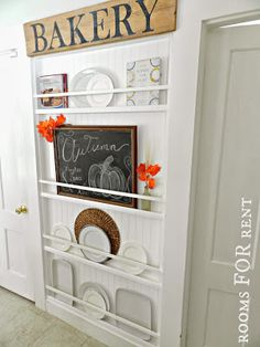 DIY plate rack - great use for an unused wall, and other small space ideas from EclecticallyVintage.com