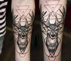 Dotwork deer tattoo by Timur Lysenko