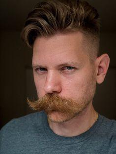 Thoughts on new and improved stubble 'beardstache'? Walrus Mustache, Big Moustache, Mustache Styles, Beard No Mustache, Ginger Men, Ginger Beard, Handlebar Mustache, Beard Tattoo, Tattoo Man
