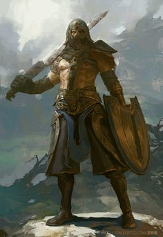 m Barbarian Gladiator Shield Sword Helm mountains snow Dungeons and dragons by artist Fenghua Zhong photography High Fantasy, Fantasy Rpg, Medieval Fantasy, Character Concept, Character Art, Concept Art, Fantasy Warrior, Fantasy Artwork, Fantasy Inspiration