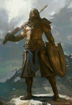 Guerreiro Selvagem, humano, sem milicia, espada longa, escudo e armadura leve