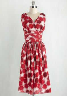 Confidence to Spare Dress - Daytime Party, Red, White, Print, Pinup, 50s, 60s, A-line, Sleeveless, Woven, Better, Vintage Inspired
