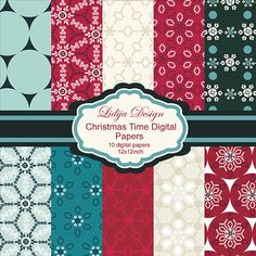 Set of 10 Christmas inspired patterns. Great for cards, invitations, craft projects, gifts, scrapbooking, papers guds etc.  Format:  10JPG 12x12inch-300dpi