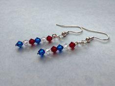4th of July Earrings Red White Blue by KrazedKraftsbydopey on Etsy, $8.00