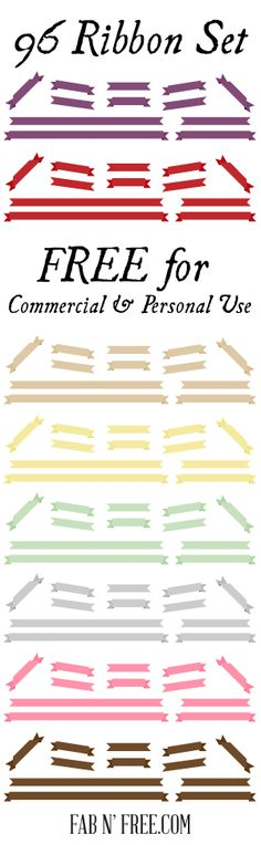 96 Free Clip Art Ribbons for Commercial Use  //  fabnfree.com