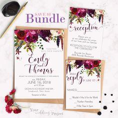 Burgundy Floral DIY Wedding Invitation Bundle | Printable Invitation Template, Custom Wedding Digital Invitation, RSVP and Reception card by YourWeddingProject on Etsy https://www.etsy.com/listing/521178956/burgundy-floral-diy-wedding-invitation