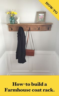 Everything you need to make this farmhouse coat hook can be found on my blog. This is a classic and clean coat rack and shelf that is made from barn wood.