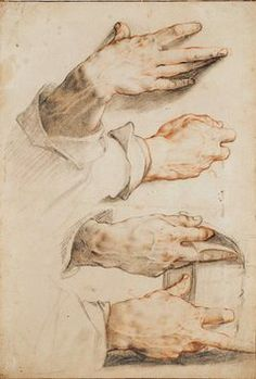 HENDRICK GOLTZIUS Four studies of a right hand ca. 1588-89 Black and red chalk