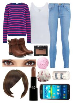 """""""Frisk (Undertale)"""" by thefnaftheorists ❤ liked on Polyvore featuring Current/Elliott, Majestic, Stella Jean, Timberland, Sankins, NARS Cosmetics, Giorgio Armani and Samsung"""