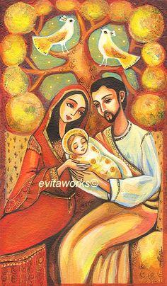 Nativity Religious Folk Art Holy Family Mary with Child Baby Jesus Symbolic Tree Birds - Tree of Life - Nativity - Art Print 9.5x13. $16.00, via Etsy.