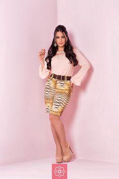 Saia Estampa Animal Print Laura Rosa Jeans  #viaevangelica #laurarosa #modaevangelica #modafeminina