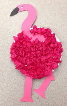 This colorful and fancy flamingo is an easy paper plate crafts for preschoolers and toddlers to make! A great activity for a zoo activity! Preschool Zoo Theme, Preschool Art Projects, Daycare Crafts, Classroom Crafts, Preschool Crafts, Preschool Learning, Classroom Themes, Tissue Paper Crafts, Paper Plate Crafts