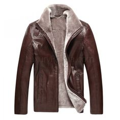 Men's Sheepskin Zipped Coat W/Stand Collar